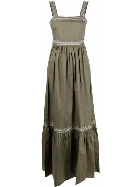 Расклешенное зеленое платье без рукавов Twin-set