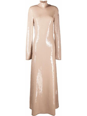 Открытое с рукавами вечернее платье с открытой спиной Bottega Veneta