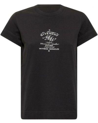 T-shirt z printem - czarna Givenchy