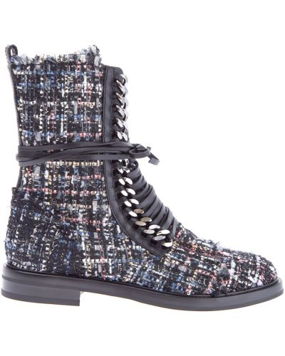 Ботинки байкерские кожаные на каблуке Casadei