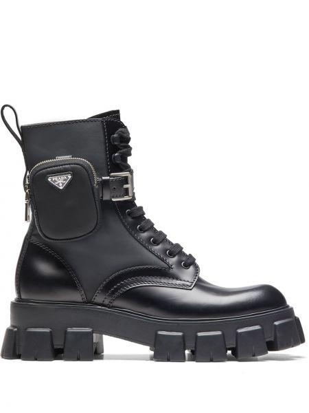 Czarny buty skórzane zasznurować okrągły na pięcie Prada