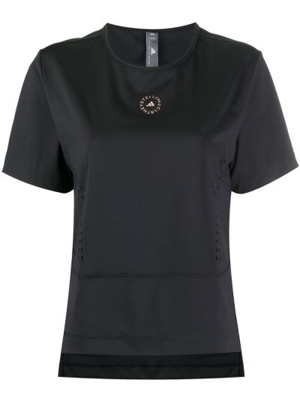 Брендовая черная рубашка с короткими рукавами Adidas By Stella Mccartney