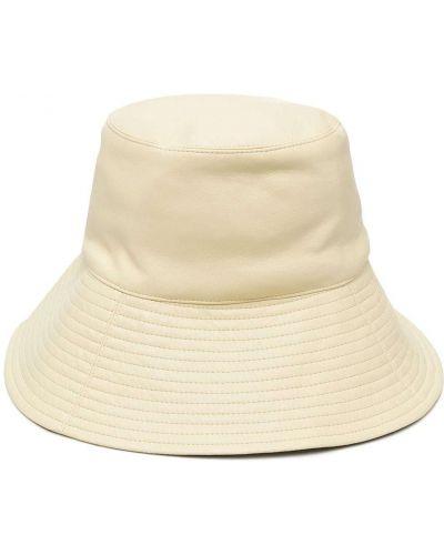 Żółty kapelusz skórzany Nanushka