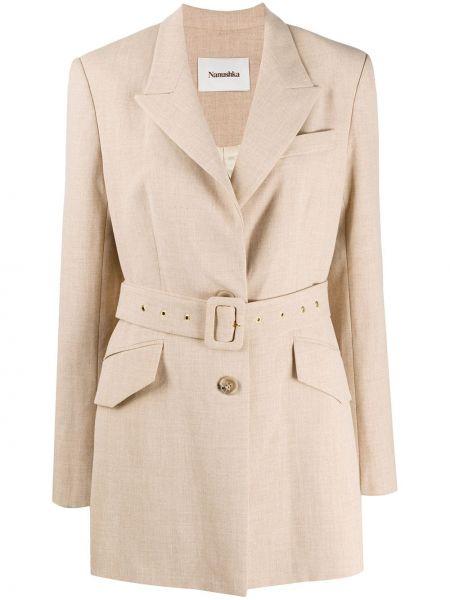 Классический пиджак с поясом с лацканами Nanushka