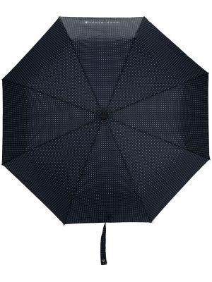 Niebieski automatyczny parasol w grochy z printem Mackintosh