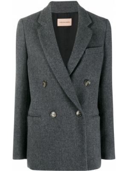 Серый пиджак двубортный с карманами Yves Salomon