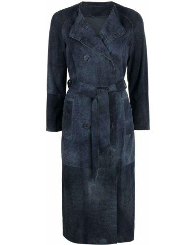 Синее кожаное пальто двубортное Salvatore Santoro