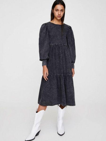 Джинсовое платье серое осеннее Pull&bear