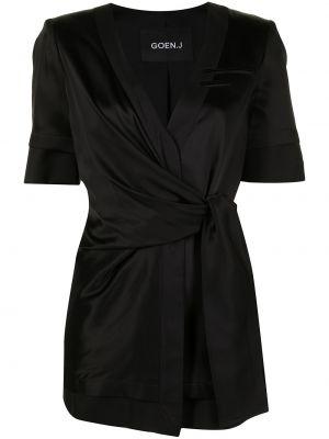 Черный пиджак с короткими рукавами с запахом Goen.j