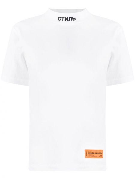 С рукавами белая прямая рубашка с коротким рукавом с вышивкой Heron Preston
