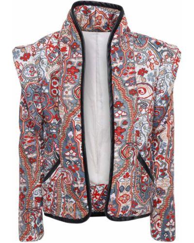 Ватная бежевая кожаная куртка Isabel Marant