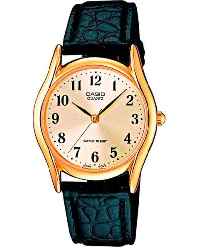 Часы водонепроницаемые с кожаным ремешком Casio