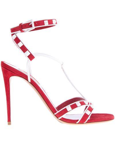 Босоножки на каблуке замшевые бархатные Valentino