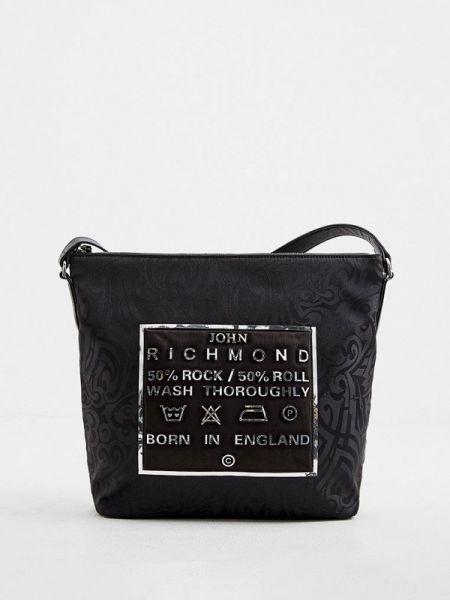 Мерцающая текстильная черная сумка через плечо John Richmond