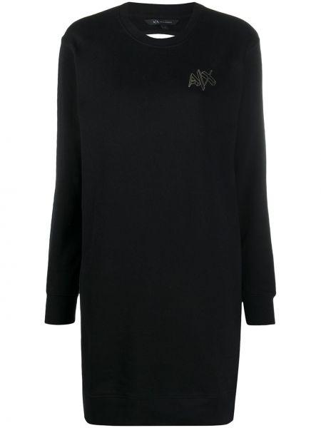 С рукавами черное платье макси с вышивкой Armani Exchange