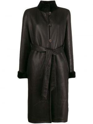 Черное кожаное длинное пальто с капюшоном Liska