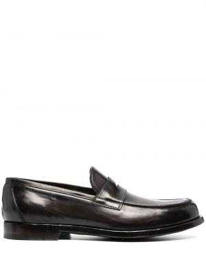 Czarny skórzany loafers na pięcie Officine Creative