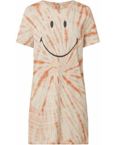 Beżowa sukienka mini rozkloszowana bawełniana Only