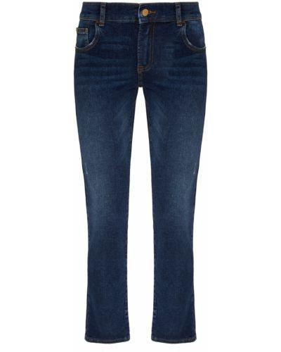 Укороченные джинсы расклешенные синие Emporio Armani