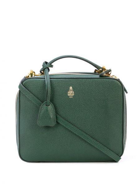 Кожаная зеленая сумка-тоут на молнии с карманами Mark Cross
