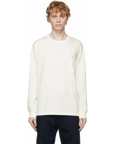 Biały t-shirt bawełniany z długimi rękawami Nanamica