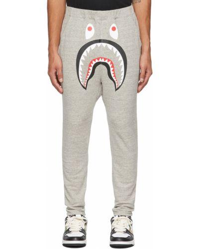 Белые флисовые брюки Bape