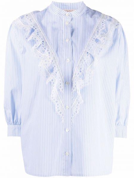 Хлопковая блузка с длинными рукавами с оборками Alexa Chung