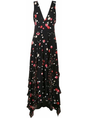 Платье миди в горошек - черное Eva