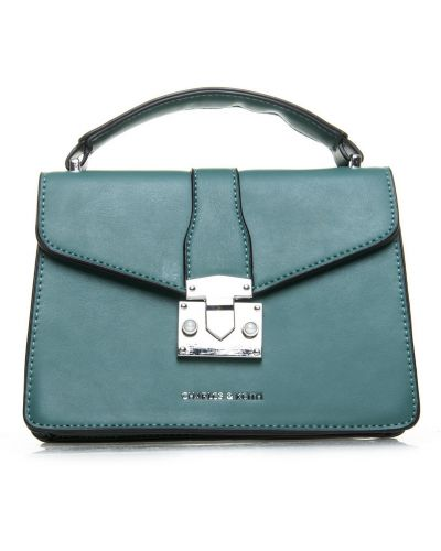 Зеленая кожаная сумка с карманами Fashion