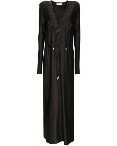 Czarna sukienka midi z paskiem safari Alexandre Vauthier