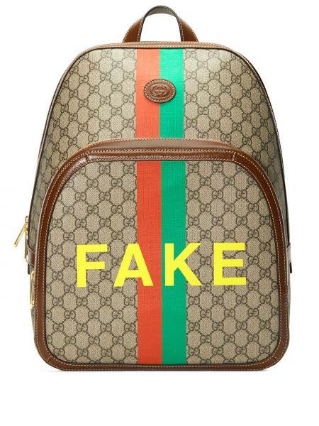 Plecak skórzany - beżowy Gucci