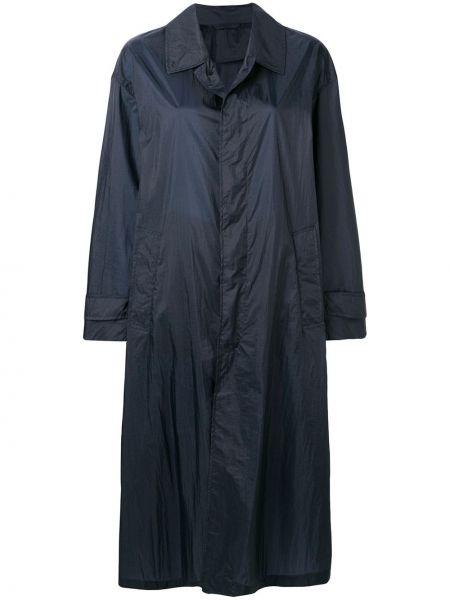 Синее пальто классическое с капюшоном с воротником Mackintosh