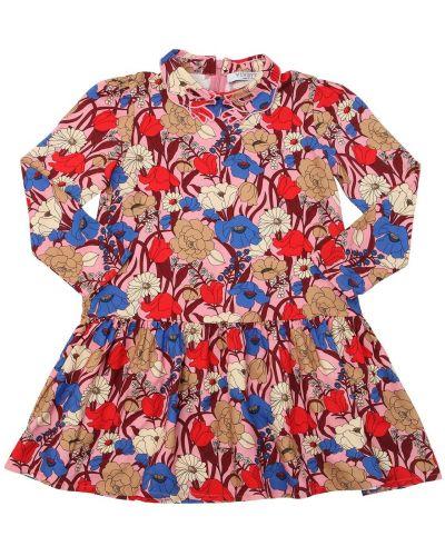 Różowa sukienka długa z haftem z długimi rękawami Vivetta