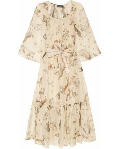 Шелковое платье миди - бежевое Alena Akhmadullina