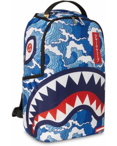 Niebieski włókienniczy plecak na paskach z kieszeniami Sprayground
