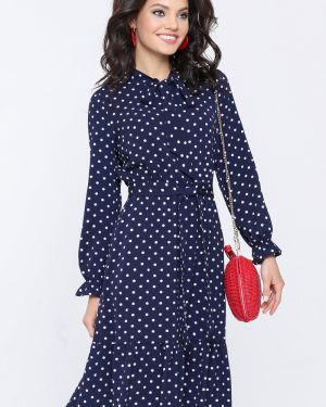 Вечернее платье в горошек с поясом Dstrend