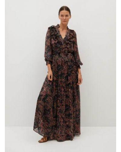 Расклешенное платье макси с V-образным вырезом со складками с оборками Mango