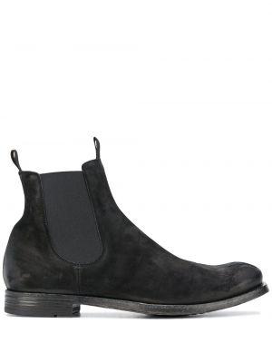 Skórzany czarny buty na pięcie okrągły na pięcie Officine Creative