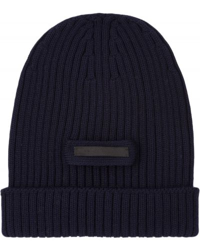 Niebieska czapka prążkowana Prada