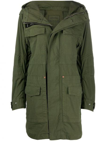 Хлопковая зеленая длинное пальто с капюшоном Zadig&voltaire