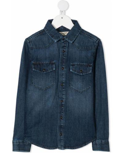 Синяя джинсовая рубашка на пуговицах с карманами с воротником Zadig & Voltaire Kids