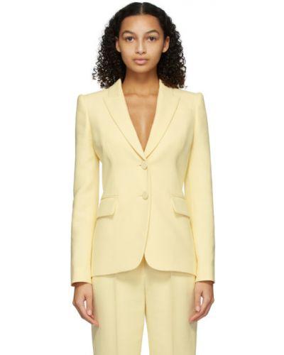 Шелковый желтый удлиненный пиджак с карманами Alexander Mcqueen