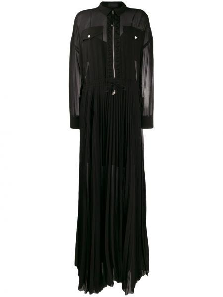 Плиссированное платье на пуговицах прозрачное с воротником Diesel Black Gold