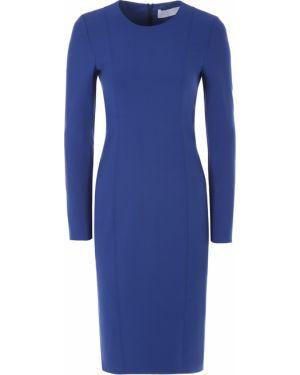 Шерстяное платье миди - синее Hugo Boss