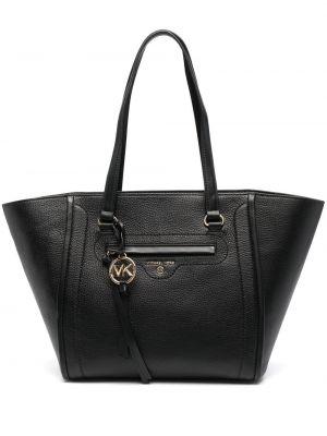 Черная кожаная сумка-тоут на молнии Michael Michael Kors