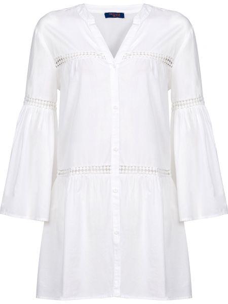 Хлопковое белое платье на пуговицах Trussardi Jeans