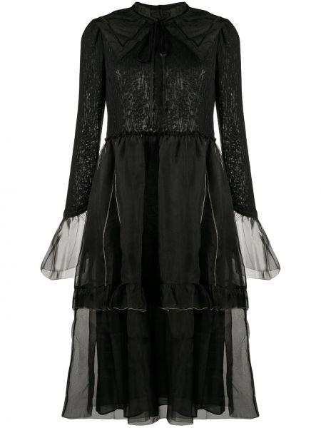 Черное нейлоновое платье миди с воротником с вырезом Renli Su