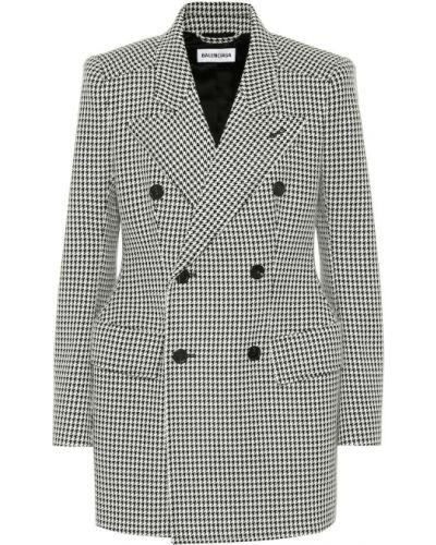 Шерстяной черный пиджак двубортный Balenciaga
