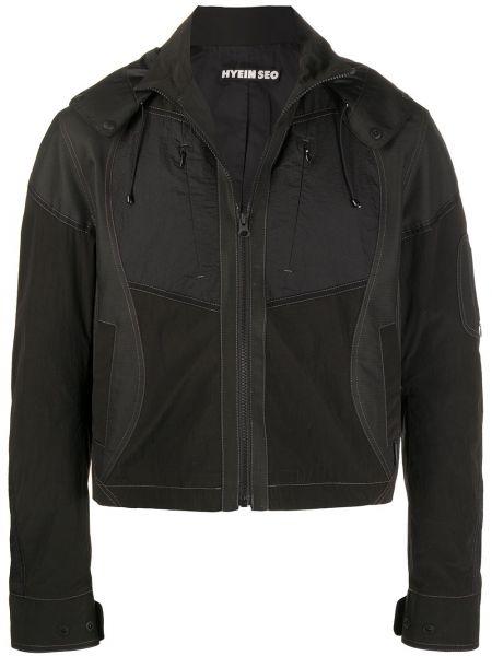 Прямая черная нейлоновая куртка с капюшоном на пуговицах Hyein Seo