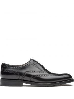 Кожаные черные оксфорды на каблуке Church's